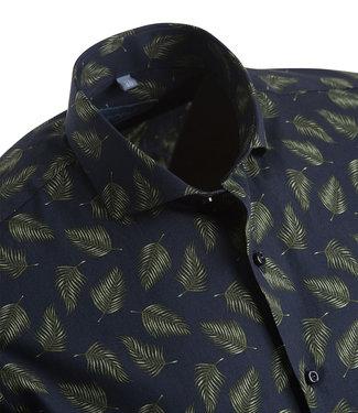 FORMEN donkerblauw hemd met groene bladeren