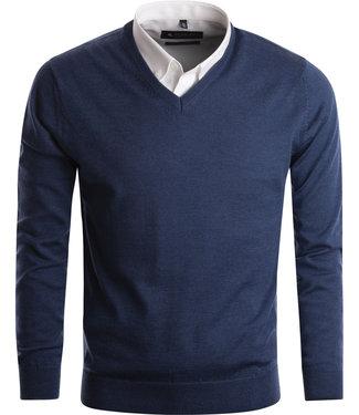 FORMEN merinos v-neck pull jeansblauw