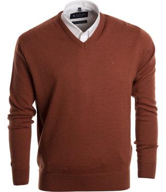FORMEN basic trui met v-hals in mooi oranje