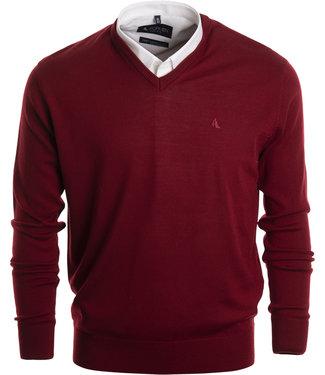 FORMEN kwaliteitsvolle trui met v-hals in winters rood