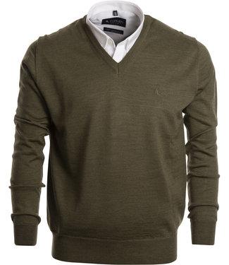 FORMEN stijlvolle khaki trui met v-hals