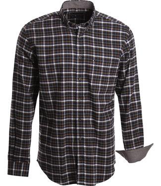 FORMEN flanellen hemd met ruit in blauw, grijs en warm bruin