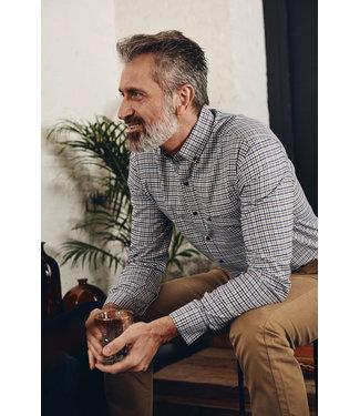 FORMEN hemd met klassevolle ruit in blauw en khaki en bruine tinten