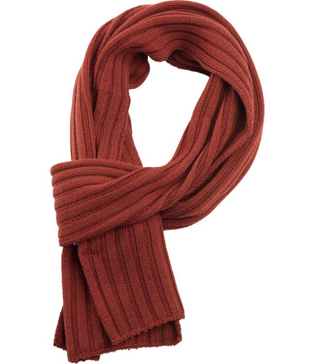FORMEN sjaal met rib in warm oranje