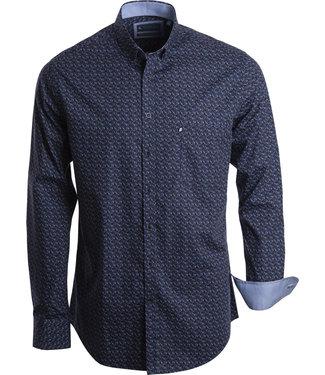 FORMEN blauw overhemd met veelkleurige speelse print