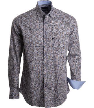 FORMEN stylish hemd met geometische print in wit, blauw en beige tinten