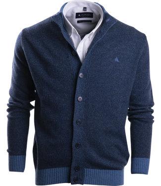 FORMEN Jeansblauwe cardigan met knopen en opstaande kraag