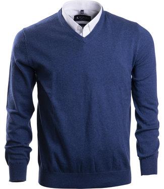 FORMEN tijdloze trui met v-hals in jeansblauw