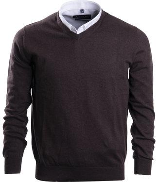 FORMEN trui met v-hals in herfstkleur bruin