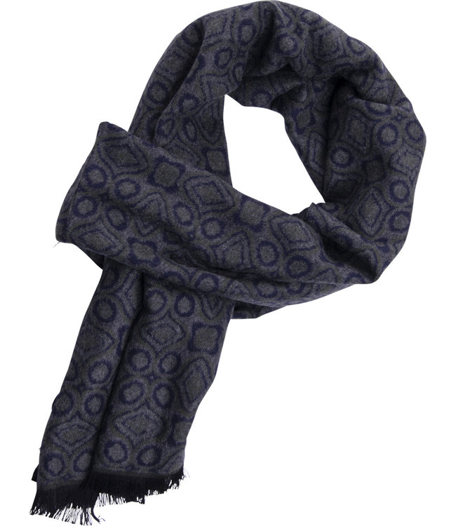 FORMEN Grijze sjaal met geometrisch motief in diepblauw en kaki