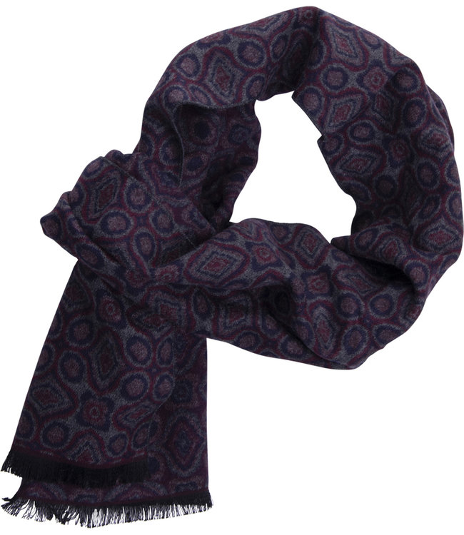 FORMEN Grijze sjaal met abstract design in marine blauw en diep bordeaux