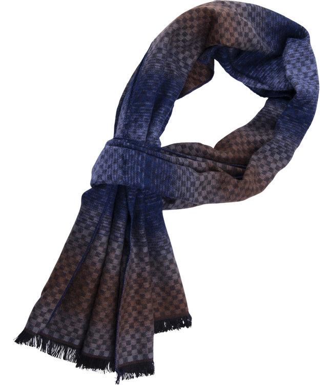 FORMEN Dégradé  sjaal met 3D motief blauw-beige