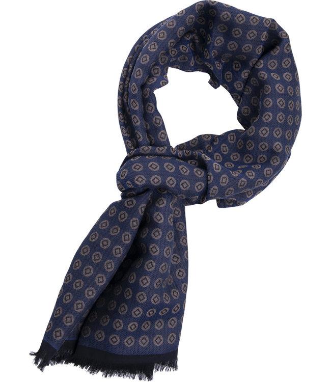 FORMEN Blauwe sjaal met beige geometrisch motief