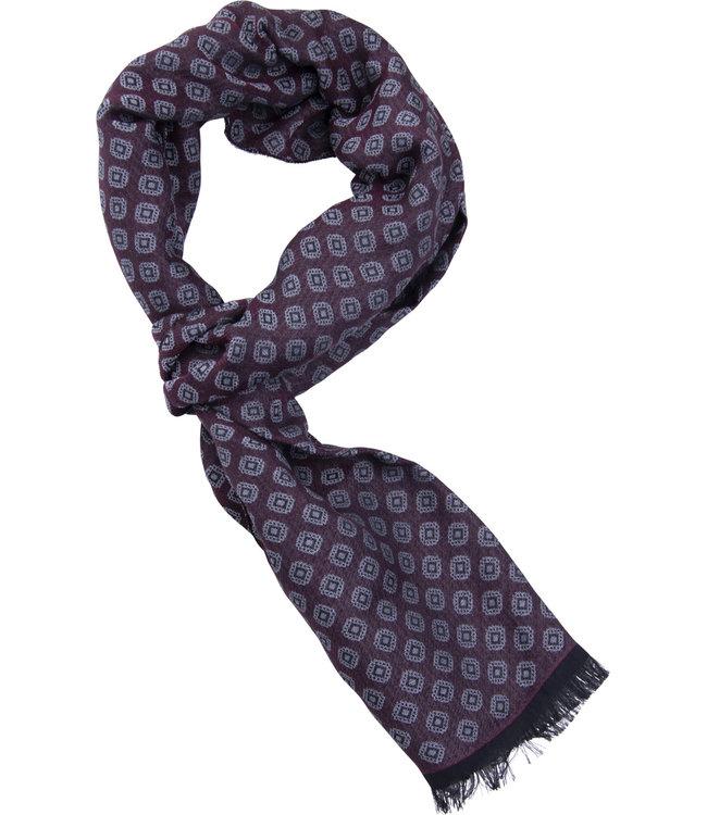 FORMEN Bordeaux sjaal met grijs geometrisch dassenmotief