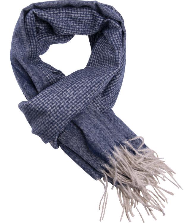 FORMEN Blauwe sjaal met fijn ecru ruit motief