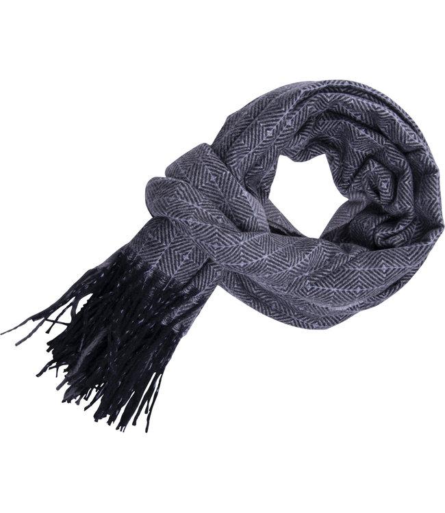 FORMEN Grijze sjaal met dubbel motief