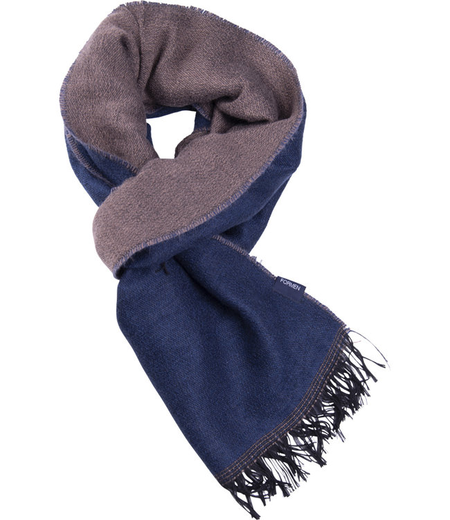FORMEN Double faced sjaal blauw-taupe