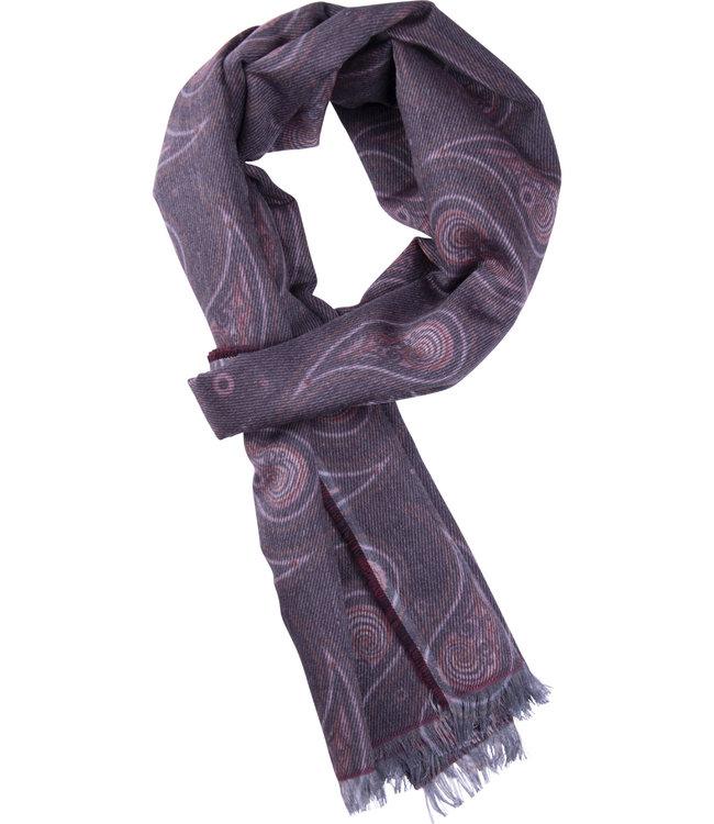 FORMEN Bordeaux sjaal met kasjmier motief
