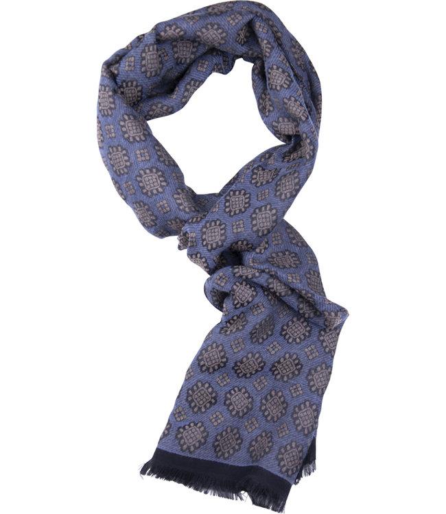 FORMEN Sjaal met uitvergrote sneeuwkristallen, blauw-licht beige