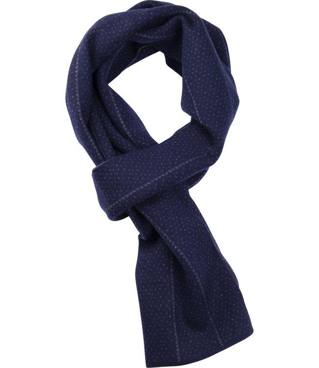 FORMEN Double faced blauwe sjaal met krijtstreep en parelgrijze accenten