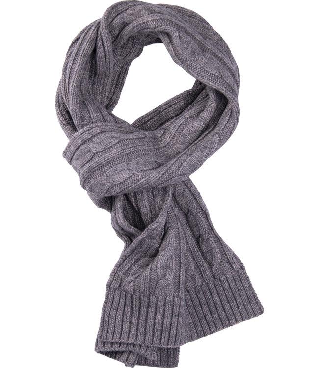 FORMEN Taupe gebreide sjaal met kabelmotief