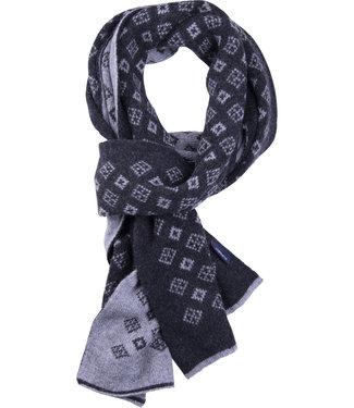 FORMEN Antraciet double face sjaal met dassenmotief