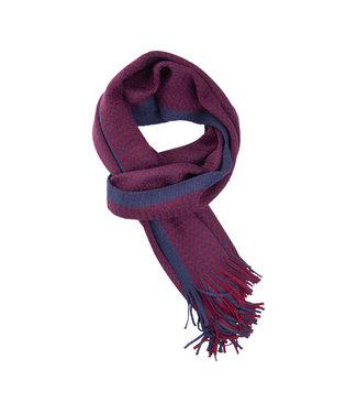 FORMEN Gebreide sjaal micro check blauw-rood