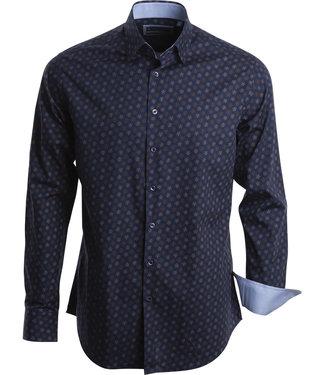 FORMEN prachtig slim fit hemd in blauw met beige bloemenprint