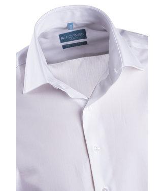 FORMEN Wit hemd in luxe 2-ply katoen met Italiaanse kraag - Regular fit
