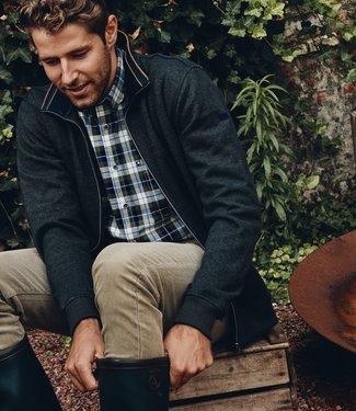 FORMEN warme donkergroene trui met rits