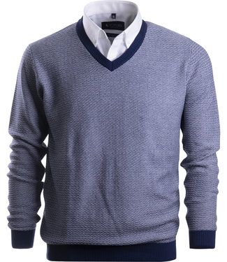 FORMEN herentrui in navy en wit brei