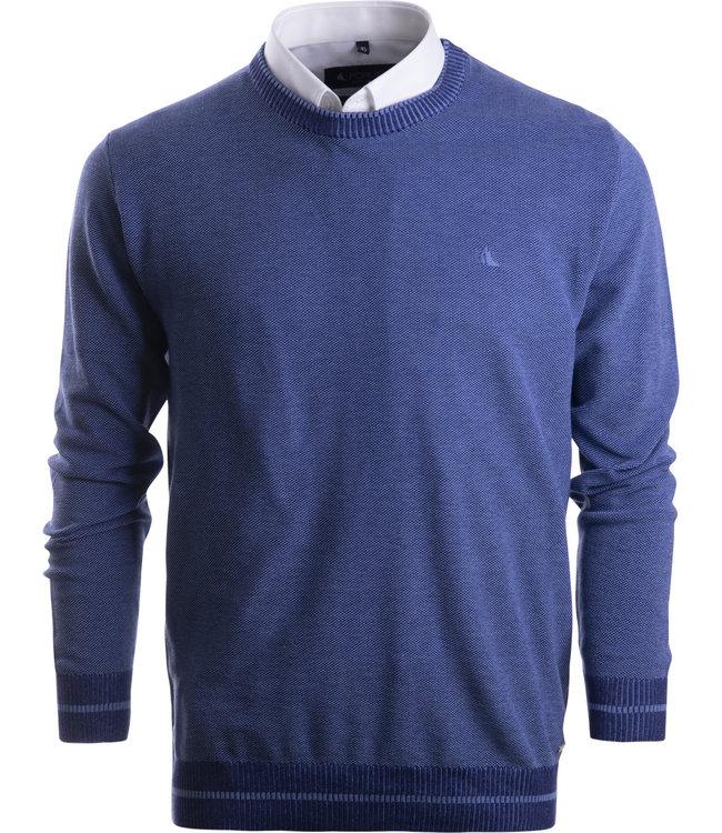 FORMEN blauwe trui in trendy brei