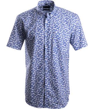 FORMEN jeansblauw hemd met unieke print