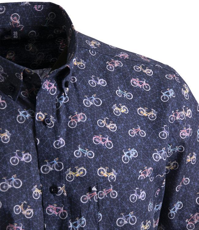 FORMEN blauw hemd met fiets motief