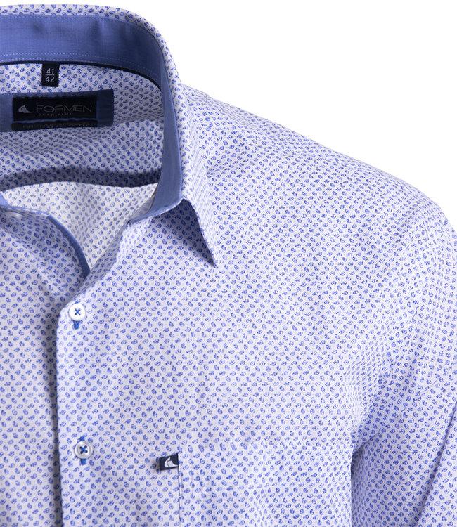 FORMEN wit hemd met motief in koningsblauw