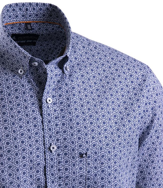 FORMEN donkerblauw zomerhemd met print
