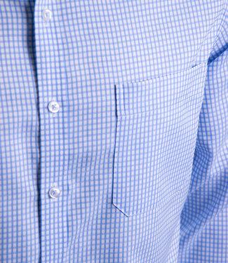 FORMEN stijlvol lichtblauw geruit hemd