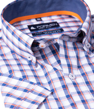 FORMEN sportief geruit hemd, oranje accent