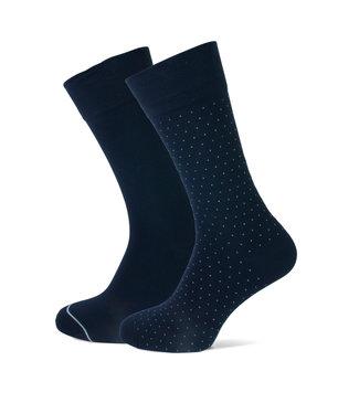 FORMEN navy sokken met stip duopack = 2 paar