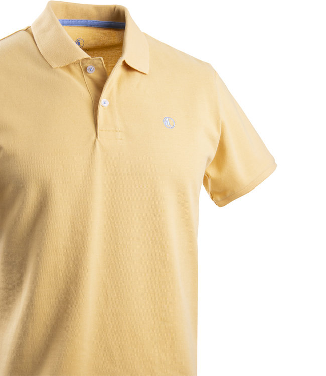 FORMEN polo picqué katoen in zonnig geel