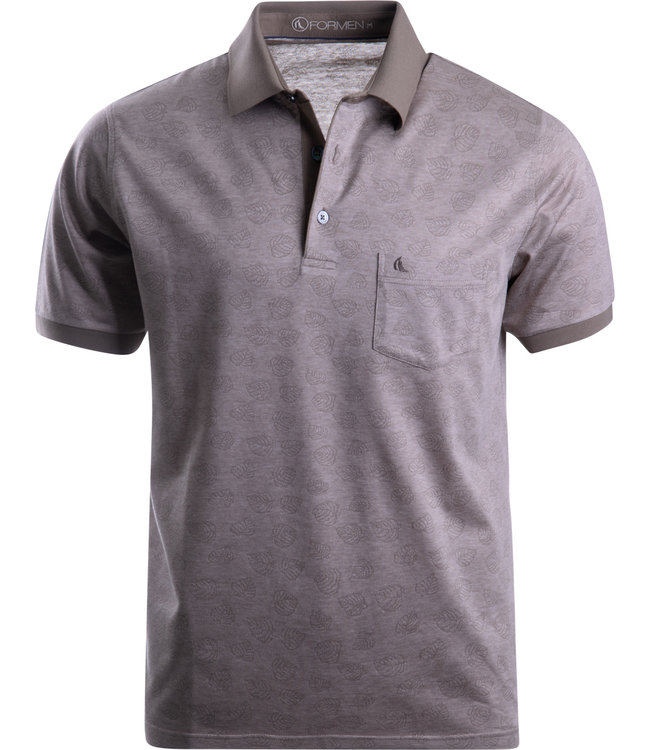 FORMEN taupe polo in jersey katoen