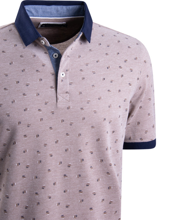 FORMEN taupe polo met motief