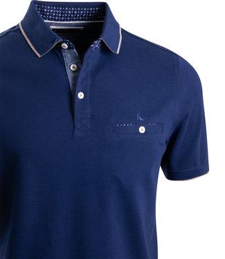 FORMEN donkerblauwe polo met taupe detail