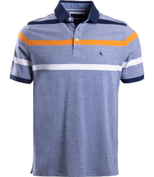 FORMEN blauwe polo met oranje streep