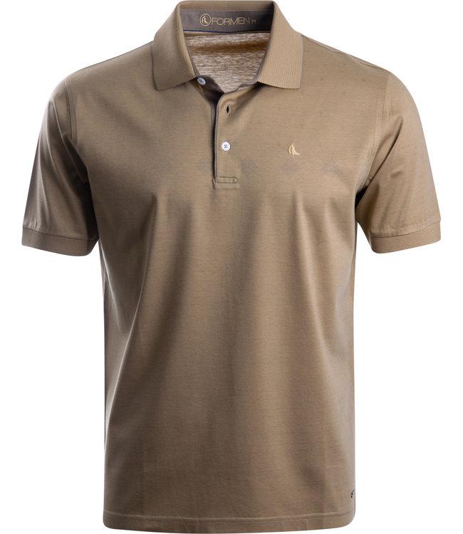 FORMEN camel kleurige polo in soft jersey