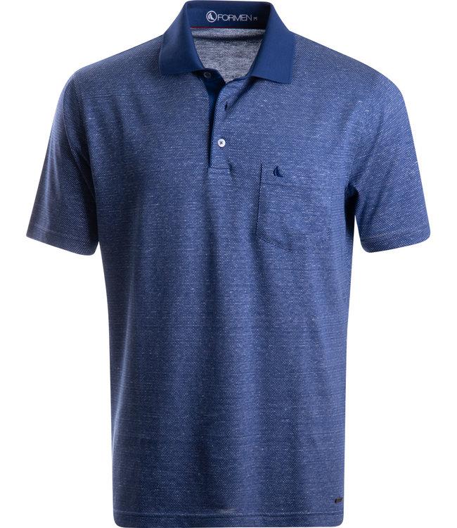 FORMEN blauwe polo in jersey katoen