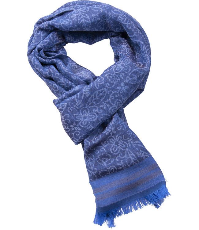 FORMEN blauwe herensjaal met dessin