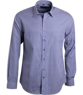 FORMEN blauw hemd met oker motief