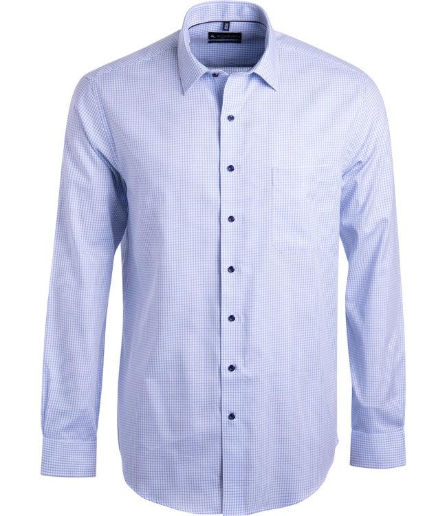 FORMEN lichtblauw hemd met kleine ruit