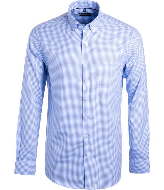 FORMEN lichtblauw geruit overhemd